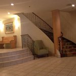 Stairway from lobby to breakfast area and washrooms