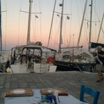 Pythagorion harbour at sunset