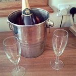 Pink fizz in our room, unfortunately all the ice in the bucket had melted by the time we got the