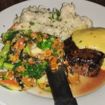 4 Oz. Filet Mignon with Bearnaise Sauce, Garlic Whipped Potatoes and Sauteed Vegetables,