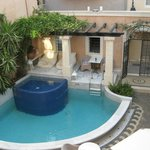 View of the roman pool in the courtyard from the balcony of room 105