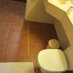 The tape measure on the floor is 4ft long. The toilet roll is over 4ft away from the toilet pan