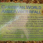 Placard describing Amber Waterfall