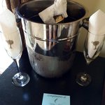 "The complimetary bottle of champagne that was waiting in our room.  The note says, ""Compliments"