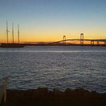 Sunset view of Newport Bridge from Pineapple's outdoor bar/restaurant..