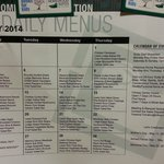Monthly dinner menu for May 2014 posted on room fridge.
