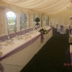 Marquee wedding breakfast top table