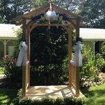 Wedding arbor outside the motel rooms