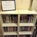 DVD library. Guests may borrow a DVD from here and watch in the room on the TV's built in DVD pl