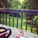 Morning coffee on the back deck