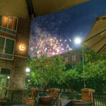 View of the fireworks from the baseball field behind the Hilton. We were sitting on the patio at