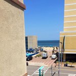 View of beach access from motel walkway outside our room