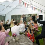 Wedding toast in the marquee at Fur & Feathers pub - 21st June 2014