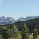 Here is a view of the Sawtooth peaks from the back porch of the room we were in. Not bad!
