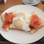 Breakfast  Poached eggs with fresh salmon  Excellent.
