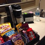 Keurig and free snacks and sodas at premium suite