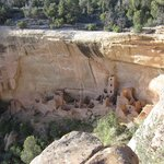 View of a cliff dwelling from a look out by the road