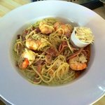 King prawn spaghetti with smokey bacon,sundried tomatoes,white wine and chilli oil