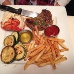 Fillet and Lobster tail with fries and grilled squash