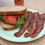 BLTA comes with a side. Look at that bacon!