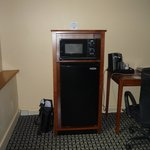 Fridge, microwave, coffeemaker