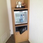 Coffee/Tea and mini fridge in room