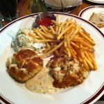 Meaty crab cakes, crispy, salty fries and excellent coleslaw