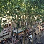 view  of the Ramblas from the room