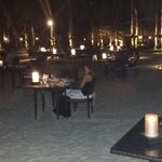 Candle lit dinner on the beach