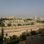A view from the hotel roof of the city wall and part of new Jerusalem.
