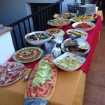 Paella, salmon and roast beef luxury buffet