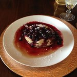 Delicious buttermilk pancakes with a 3 berry sauce