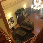 View of the lobby from the top of the stairs.