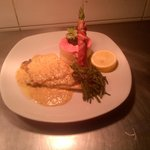 Pan fried seabass, beetroot mash, samphire and a white wine mustard sauce