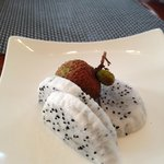 Dragon fruit and lychee at the breakfast buffet