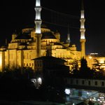 blue mosque from roof terrace