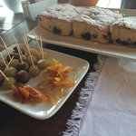 Candied fruit and cake at breakfast