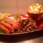 Small seafood platter, langoustines, crumbed whitebait, and seared scallops