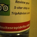 water bottle label requests 5 star review