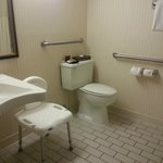 Accessible bathroom includes shower chair