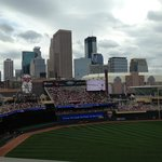 View of the city skyline from our seats section 226