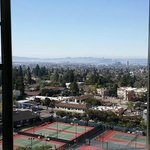 View from our room at the Claremont, view of tennis courts