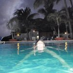 nighttime swim in the pool.