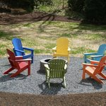 fire pit and colorful chairs