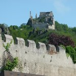 Castle situated on a rocky hill, high above the small town of Durnstein