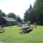 Beer Garden with camp site beyond.