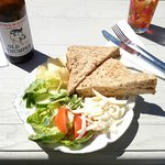 Crab sandwich and local ale