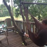 hubby sitting in the swing