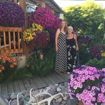 My wife and Annelies in the beautiful backyard.