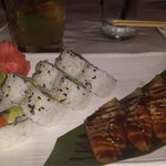Eel sashimi and vegetable sushi with a sparkling sangria